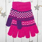 """Перчатки с шерстью молодёжные Collorista """"Домино"""", размер 20, цвет розовый"""