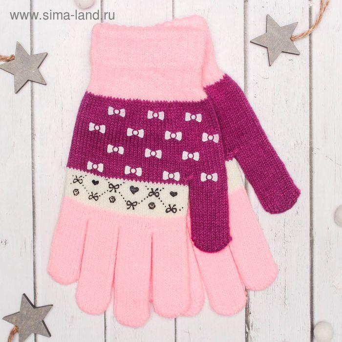 """Перчатки с шерстью молодёжные Collorista """"Бантики"""", размер 20 (р-р произв. 10), цвет розовый"""