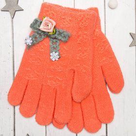 Перчатки молодёжные 'Розочка', размер 20 (р-р произв. 10), цвет оранжевый, аппликация МИКС 65576 Ош