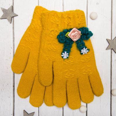 """Перчатки молодёжные """"Розочка"""", размер 20 (р-р произв. 10), цвет жёлтый, аппликация МИКС 65576"""