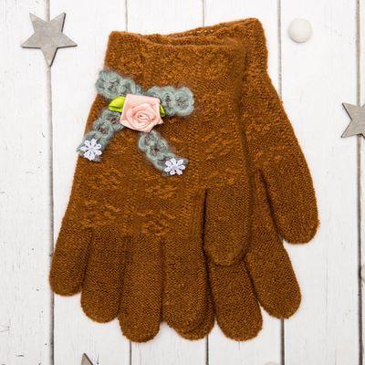 """Перчатки молодёжные """"Розочка"""", размер 20 (р-р произв. 10), цвет коричневый, аппликация МИКС 65576"""