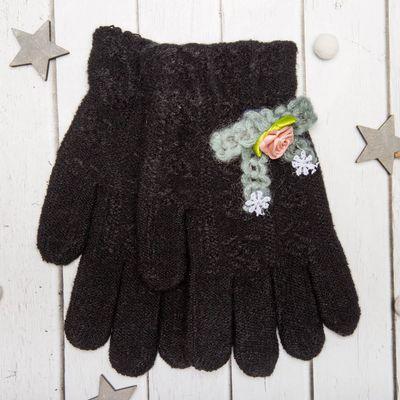 """Перчатки молодёжные """"Розочка"""", размер 20 (р-р произв. 10), цвет чёрный, аппликация МИКС 65576"""
