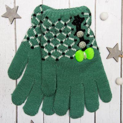 """Перчатки молодёжные """"Сеточка"""", размер 20 (р-р произв. 10), цвет зелёный 65574"""