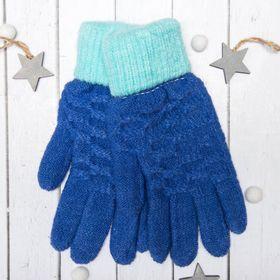 """Перчатки молодёжные """"Шашки"""", размер 18, цвет синий 65577"""