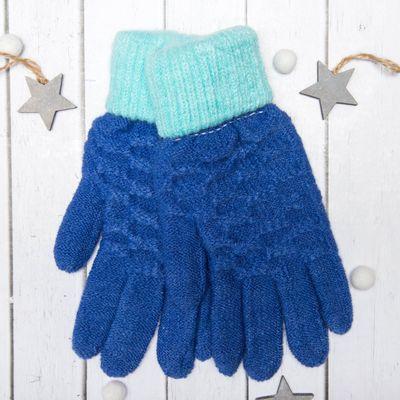"""Перчатки молодёжные """"Шашки"""", размер 18 (р-р произв. 9), цвет синий 65577"""