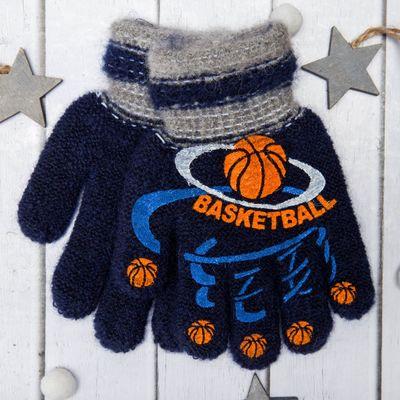 """Перчатки с шерстью детские Collorista """"Баскетбол"""", размер 14, цвет синий"""