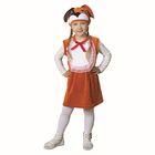 """Карнавальный костюм от 1,5-3-х лет """"Собачка с бантом"""", велюр, рыжий сарафан с грудкой, шапка, рост 92-98 см"""