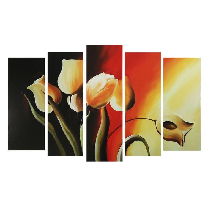 """Модульная картина на подрамнике """"Нарисованные тюльпаны"""""""