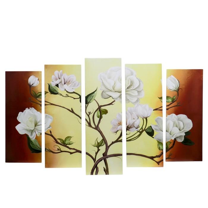 """Модульная картина на подрамнике """"Цветы на ветках"""""""