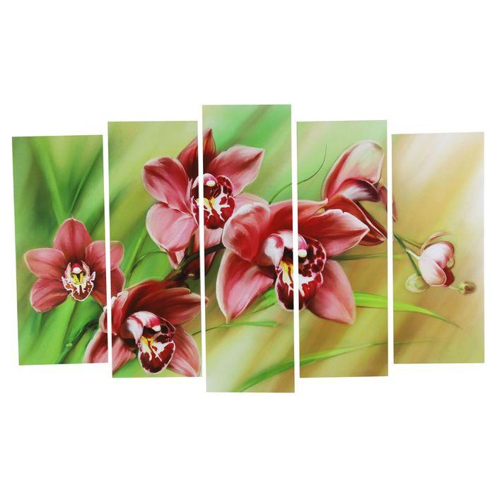 """Модульная картина на подрамнике """"Яркая орхидея"""", 2 — 25×63, 2 — 25×71, 1 — 25×80, 125×80"""