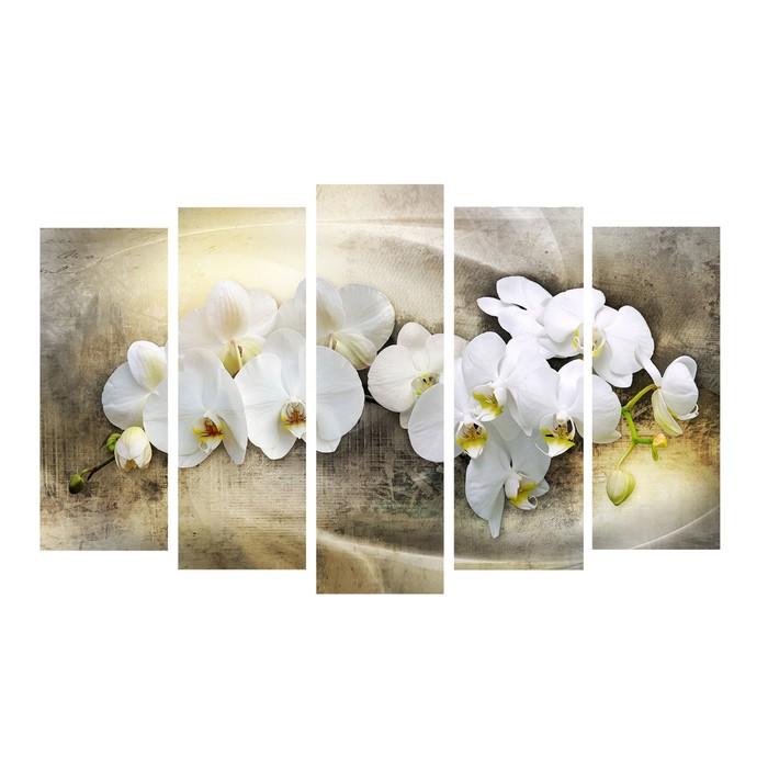 """Модульная картина на подрамнике """"Белый фаленопсис"""", 2 — 25×63, 2 — 25×71, 1 — 25×80, 125×80 см"""