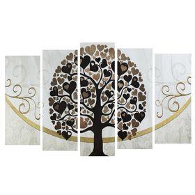 """Модульная картина на подрамнике """"Дерево любви"""", 2 — 25×63, 2 — 25×71, 1 — 25×80, 125×80 см"""