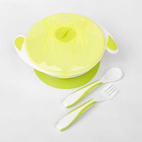 Набор детской посуды Basic, 4 предмета: миска на присоске 400 мл, крышка, ложка, вилка, от 5 мес., цвет лайм