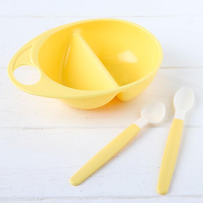 Набор посуды для кормления, 3 предмета: тарелка двухсекционная, ложки 2 шт., от 5 мес., цвет жёлтый