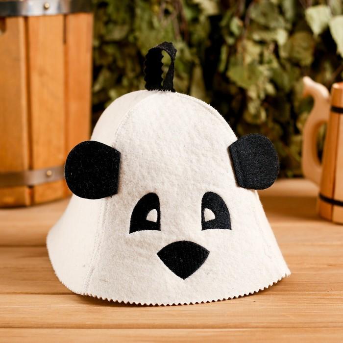 """Колпак для бани  шапка с детской термопечатью """"Панда"""" с ушками, войлок, 100% шерсть - фото 1396617"""