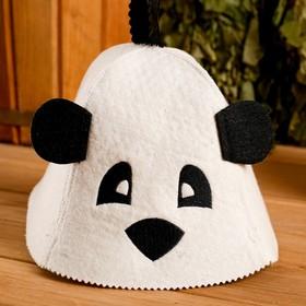 """Колпак для бани  шапка с детской термопечатью """"Панда"""" с ушками, войлок, 100% шерсть - фото 1396618"""