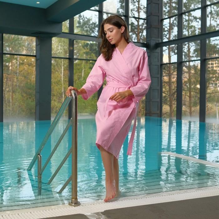 Халат вафельный женский «Экономь и Я» рукав 3/4, цвет розовый р. 42-44, хл 100%, 200 г/м²