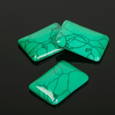 Кабошон прямоугольник 18*25мм (набор 3шт), под зеленую бирюзу