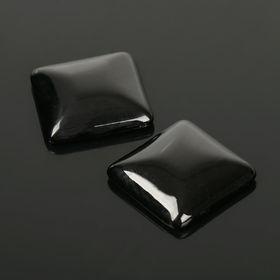 Кабошон квадрат 25*25мм (набор 2шт), под черный агат