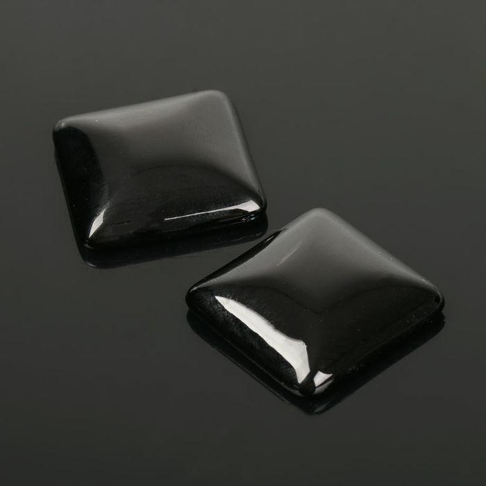 Кабошон квадрат 25*25мм (набор 2шт), под черный агат - фото 698112
