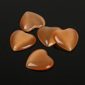 "Cabochon ""Cat's eye"" heart 18*18mm (set of 5pcs) color gold"