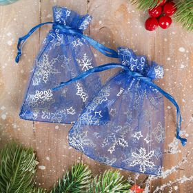"""A bag Christmas """"Snowflakes"""" 10*12, color blue with silver"""