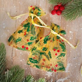 """A bag Christmas """"Holly"""" 10*12, color: Golden red green"""