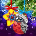 """Новый год, вышивка лентами на елочной подвеске """"Снегирь и звездочка"""", основа 25*35 см"""