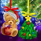 """Новогодняя вышивка лентами на елочной подвеске """"Мишка и елочка"""", основа 25*35 см"""
