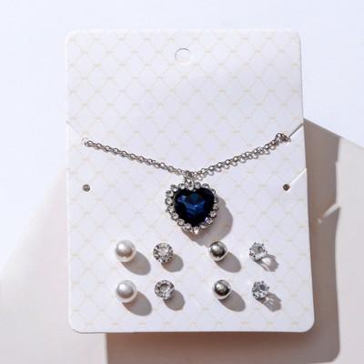 """Гарнитур 5 предметов: 4 пары пуссет, кулон """"Сердечко"""", цвет бело-синий в серебре"""