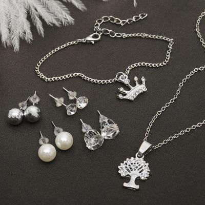 """Гарнитур 6 предметов: 4 пары пуссет, кулон, браслет """"Королевское дерево"""", цвет белый в серебре, 45см"""