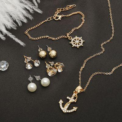 """Гарнитур 6 предметов: 4 пары пуссет, кулон, браслет """"Морячка"""", цвет белый в золоте, 45см"""