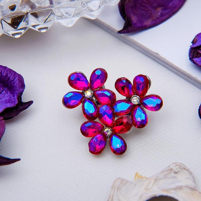 """Брошь """"Цветов соцветие"""", цвет малиново-радужный в серебре"""