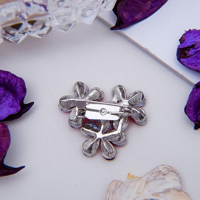 """Брошь """"Цветов соцветие"""", цвет малиново-радужный в серебре - фото 304248921"""