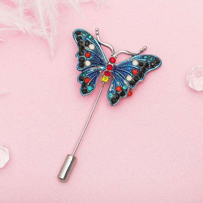 """Булавка """"Бабочка волшебная"""", разноцветная в серебре"""