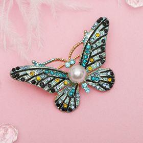 """Брошь """"Бабочка с жемчужинкой"""", разноцветная в золоте - фото 7471635"""