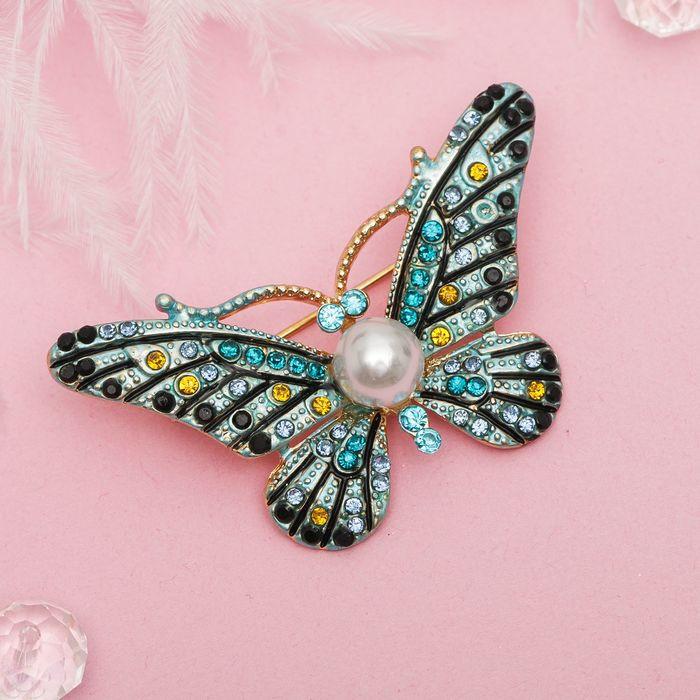 """Брошь """"Бабочка с жемчужинкой"""", разноцветная в золоте - фото 234152087"""