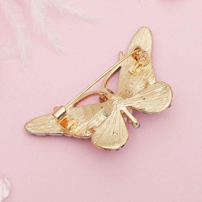 """Брошь """"Бабочка с жемчужинкой"""", разноцветная в золоте - фото 234152088"""