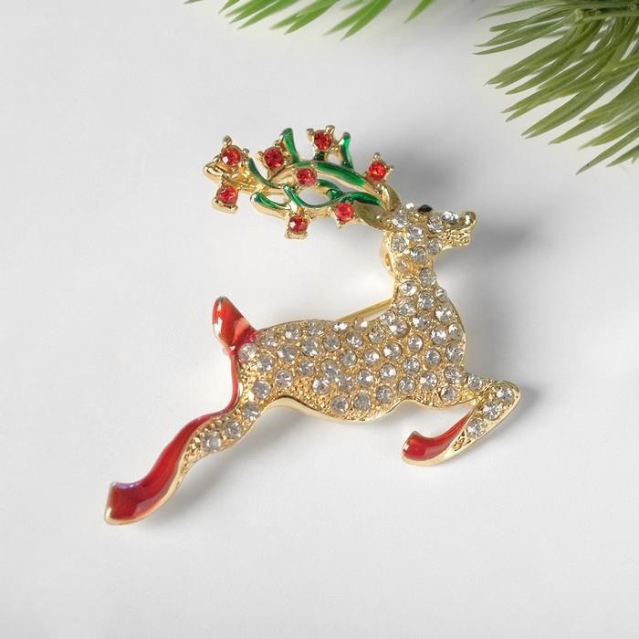 """Брошь """"Новогодняя сказка"""" олень рождественский, цветная в золоте"""
