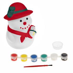 "Painting on ceramics - piggy Bank ""Snowman"" + 6 colors to 3 ml, brush"