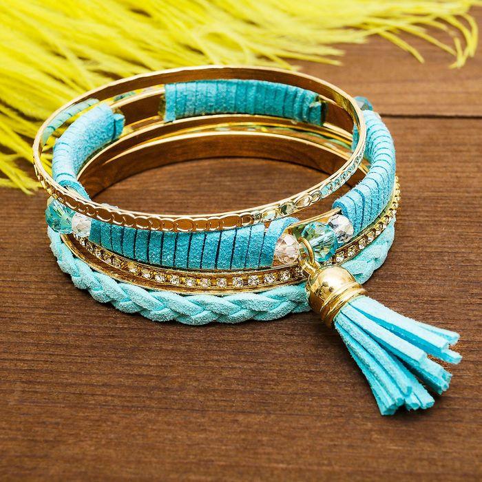 """Браслет-кольца 4 кольца """"Плетение"""" с кистью, цвет голубой в золоте - фото 301710812"""
