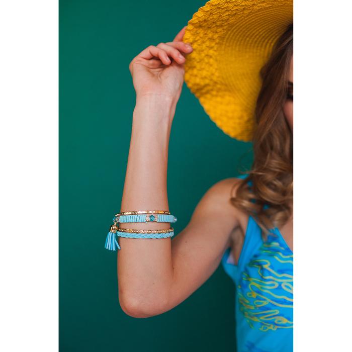 """Браслет-кольца 4 кольца """"Плетение"""" с кистью, цвет голубой в золоте - фото 301710814"""