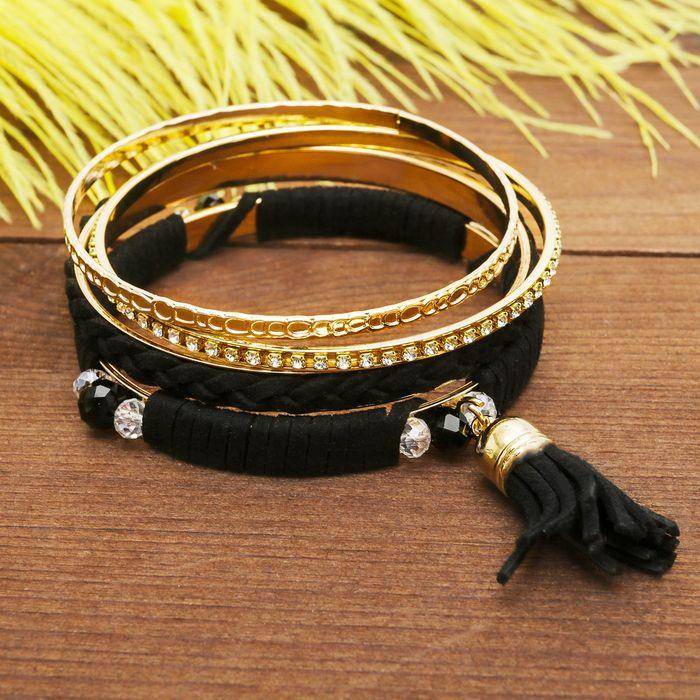 """Браслет-кольца 4 кольца """"Плетение"""" с кистью, цвет чёрный в золоте"""