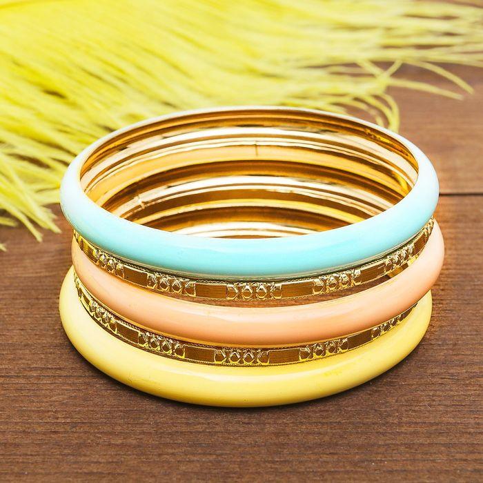"""Браслет-кольца 5 колец """"Яркий день"""", цветной в золоте - фото 306737992"""