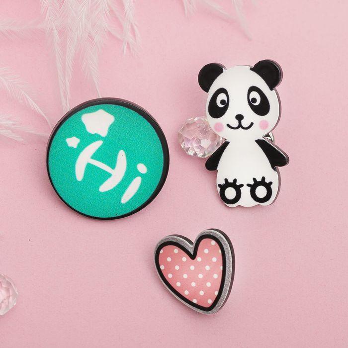"""Набор значков """"Панда приветливый"""", разноцветный"""