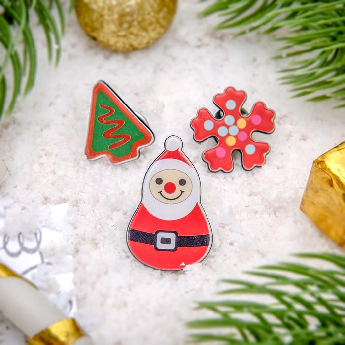 """Набор значков """"Новогодняя сказка"""", Дед Мороз , разноцветный"""