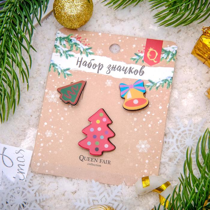 """Набор значков """"Новогодняя сказка"""" ёлочки, разноцветный, форма микс"""