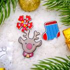 """Набор значков """"Новогодняя сказка"""" олененок, разноцветный, форма МИКС"""