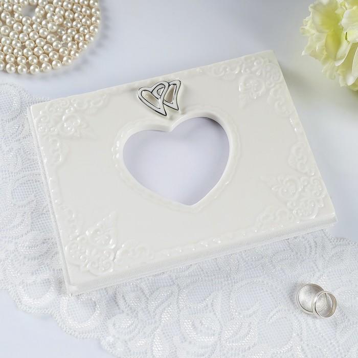 "Книга для пожеланий ""Два сердца"", фарфор 15,5*20,5*2см."