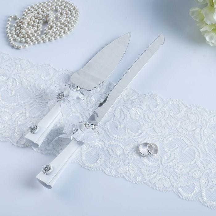 """Набор для торта """"Букет роз"""" из ножа 32см и лопатки 26см, полистоун"""